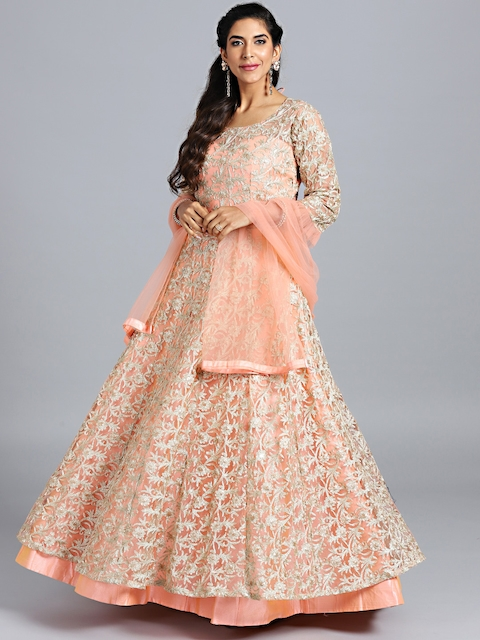 Chhabra 555 Peach-Coloured Embroidered Stitched Made to Measure Cocktail Gown with Dupatta