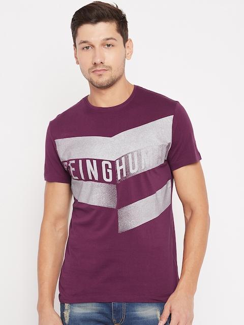 Being Human Men Burgundy Printed Round Neck T-shirt