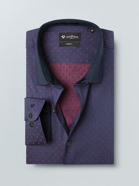 INVICTUS Men Maroon Slim Fit Self Design Formal Shirt