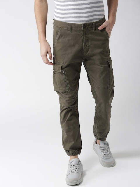 Superdry Men Olive Green Regular Fit Solid Cargo Joggers