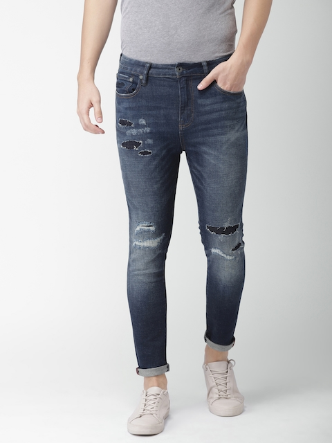 Superdry Men Blue Skinny Fit Mid-Rise Mildly Distressed Stretchable Jeans