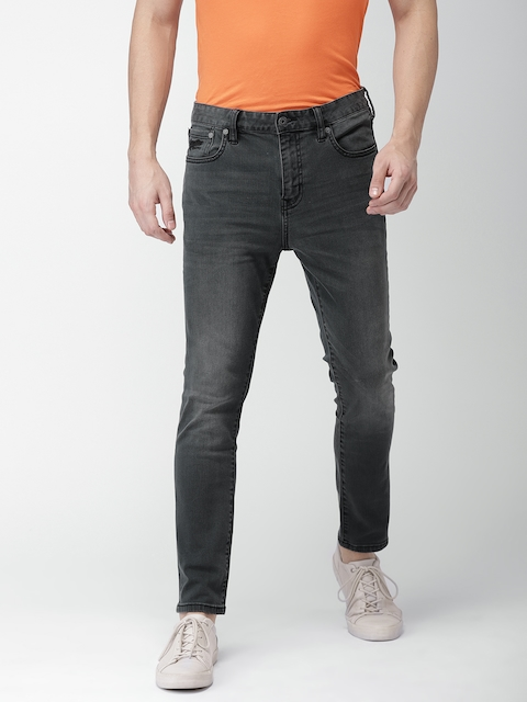 Superdry Men Charcoal Grey Slim Fit Mid-Rise Clean Look Stretchable Jeans