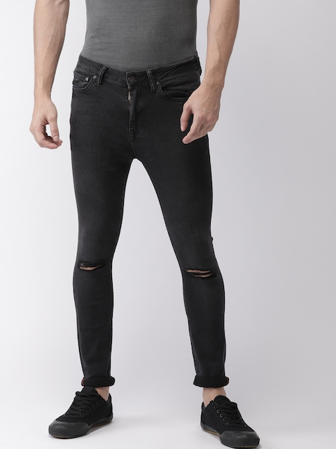 Superdry Men Black Skinny Fit Mid-Rise Slash Knee Stretchable Jeans