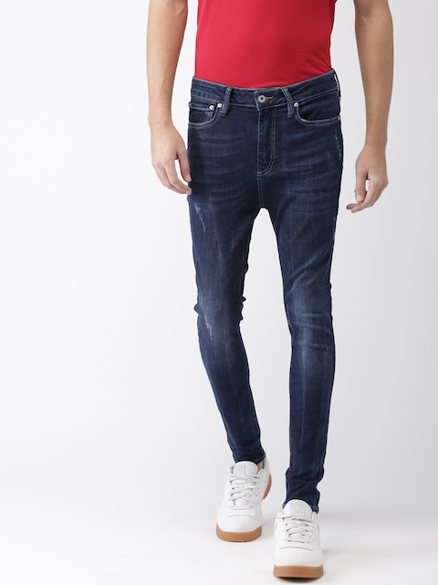 Superdry Men Blue Skinny Fit Mid-Rise Low Distressed Stretchable Jeans