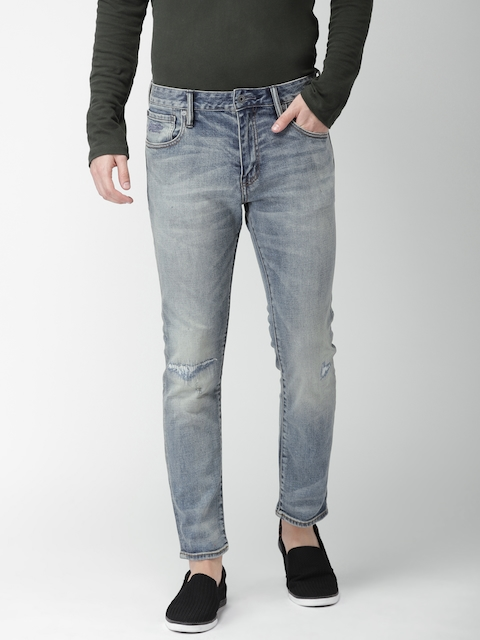 Superdry Men Blue Daman Straight Fit Mid-Rise Mildly Distressed Stretchable Jeans