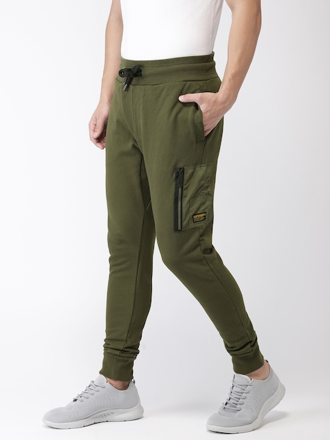 Superdry Men Olive Green Solid Joggers