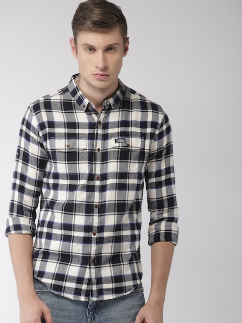 Superdry Men Navy Blue & Off-White Regular Fit Checked Casual Shirt