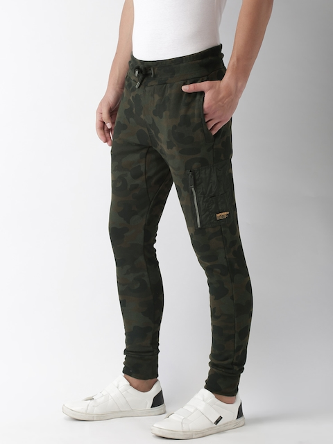 Superdry Men Olive Green Printed Joggers