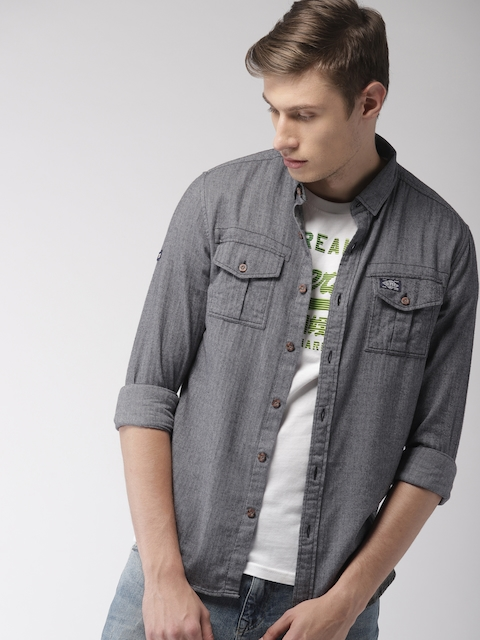 Superdry Men Charcoal Grey Regular Fit Self Design Casual Shirt