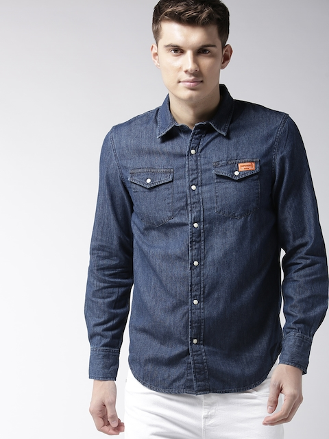 Superdry Men Navy Blue Chambray Regular Fit Solid Casual Shirt