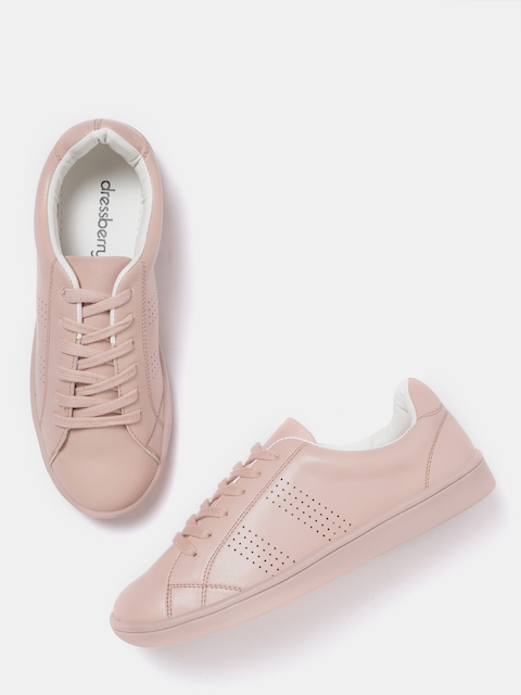 DressBerry Women Dusty Pink Perforated Sneakers