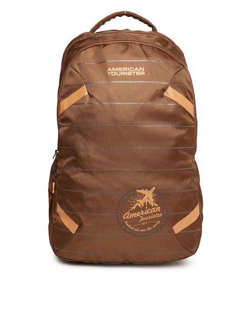AMERICAN TOURISTER Unisex Brown Brand Logo Backpack