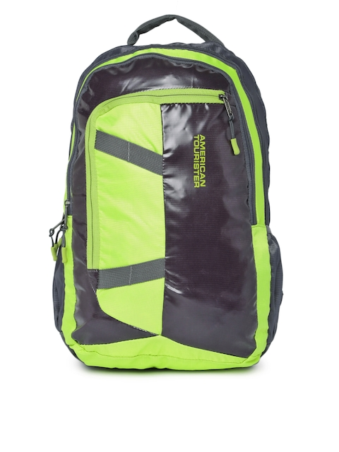 AMERICAN TOURISTER Unisex Black & Lime Green Colourblocked Zilo Sch Backpack