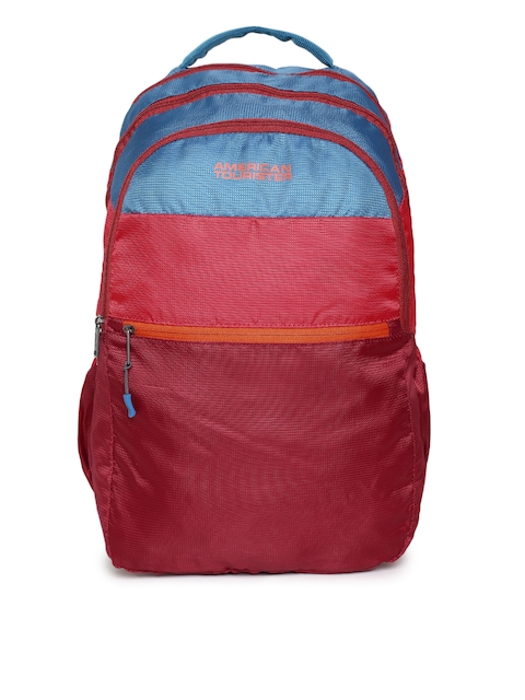 AMERICAN TOURISTER Unisex Red & Blue Colourblocked Backpack