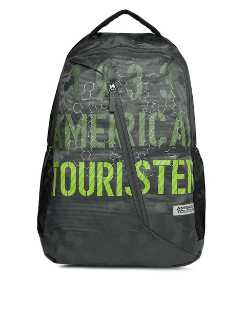 AMERICAN TOURISTER Unisex Grey Brand Logo Backpack