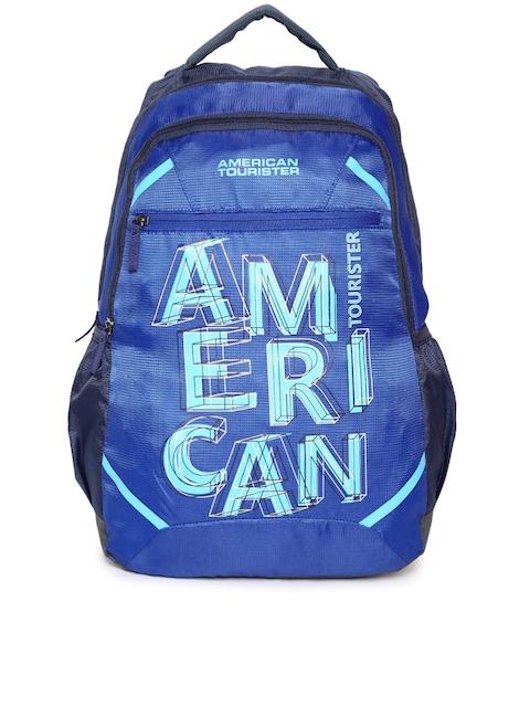 AMERICAN TOURISTER Unisex Blue Brand Logo Print Backpack
