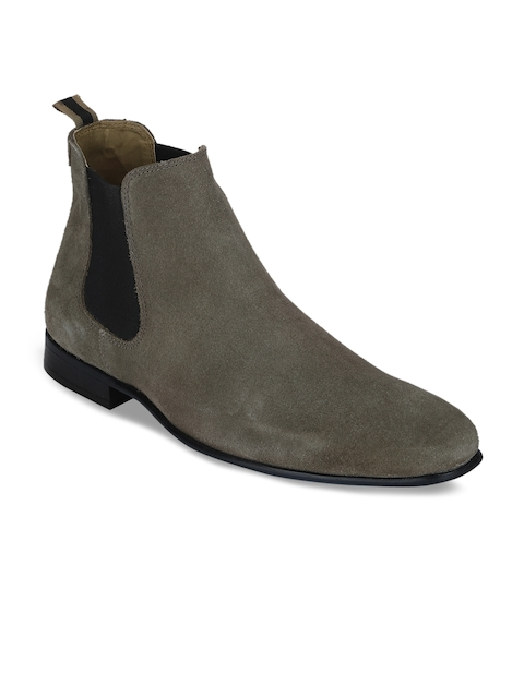 Red Tape Men Grey Solid Suede Mid-Top Flat Boots