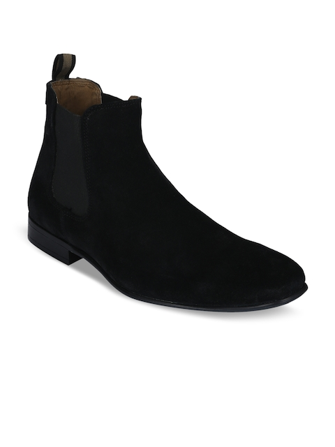 Red Tape Men Black Solid Suede Mid-Top Flat Boots