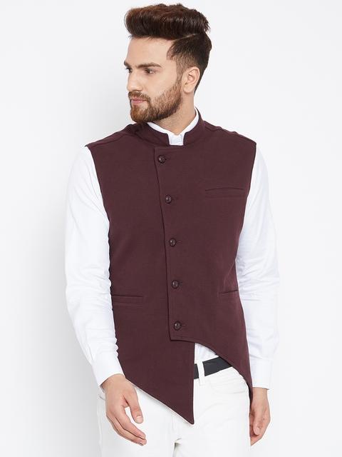 Hypernation Brown Self Designed Nehru Jacket