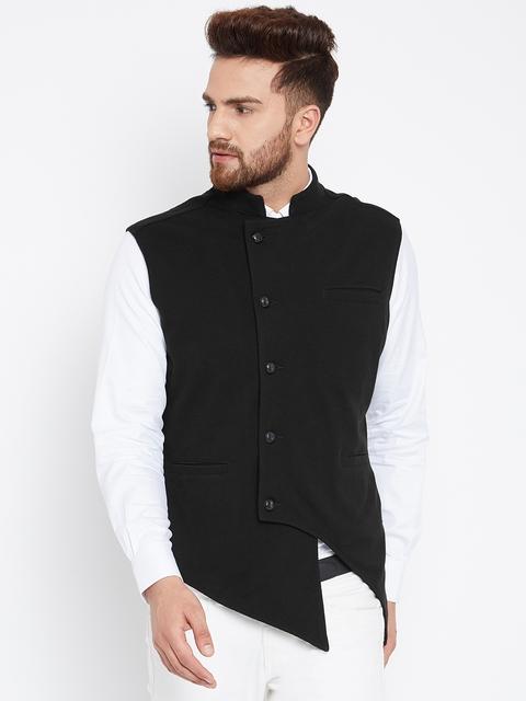 Hypernation Men Black Woven Design Waistcoat