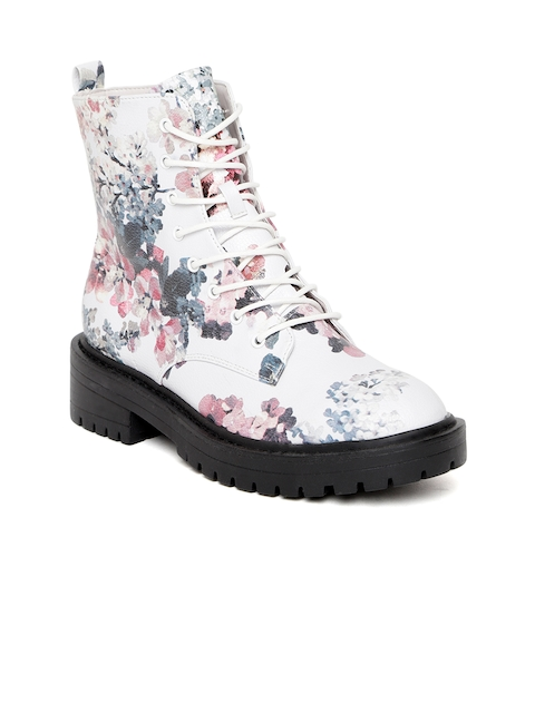 FOREVER 21 Women White & Pink Printed Mid-Top Flat Boots