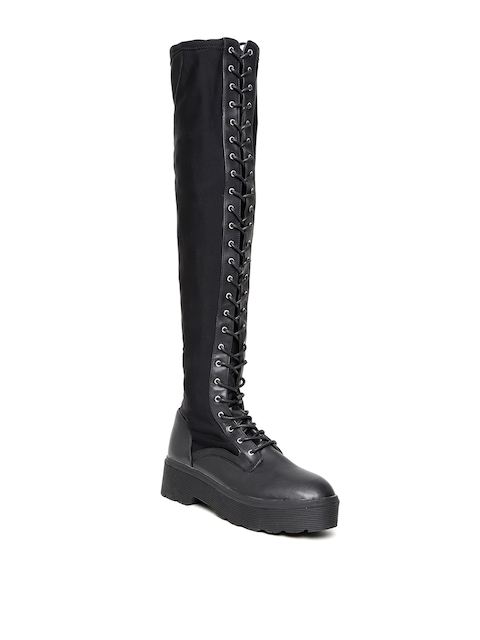 FOREVER 21 Women Black Solid Thigh-High Heeled Boots