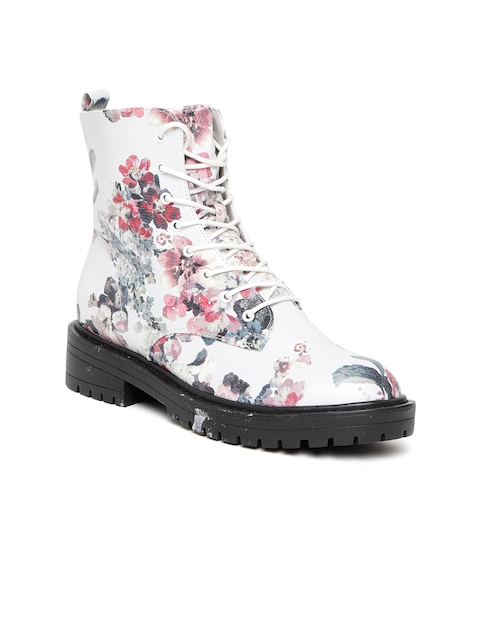 FOREVER 21 Women White Floral Print Flat Boots