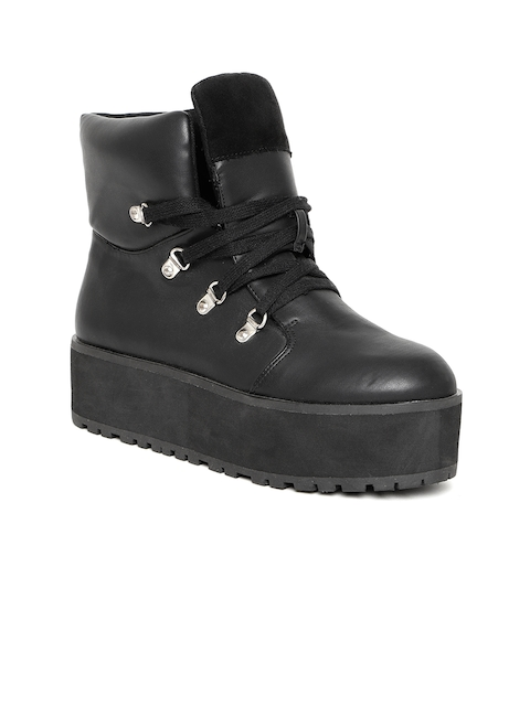 FOREVER 21 Women Black Solid Mid-Top Heeled Boots
