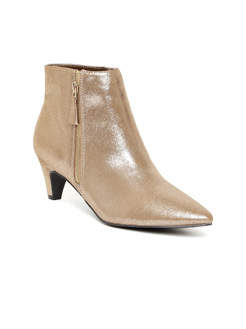 FOREVER 21 Women Gold-Toned Solid Mid-Top Heeled Boots