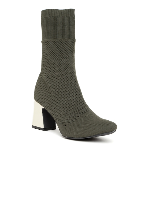FOREVER 21 Women Olive Green Woven Design Mid-Top Heeled Boots
