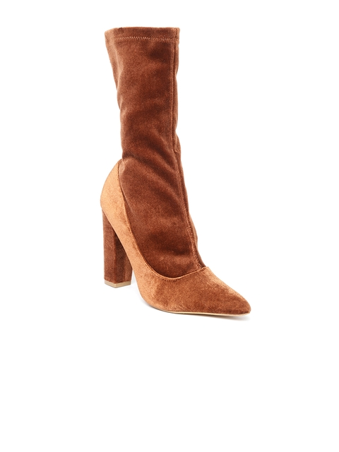 FOREVER 21 Women Brown Solid High-Top Heeled Boots