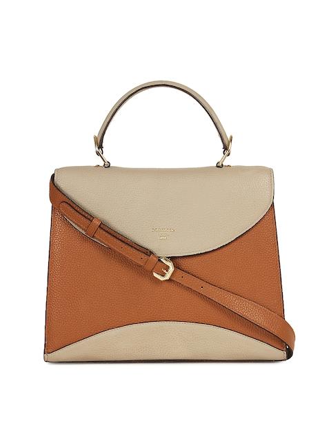 Da Milano Brown & Beige Colourblocked Leather Handheld Bag