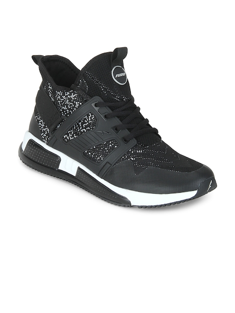 FURO by Red Chief Men Black Mesh Mid-Top Walking Shoes