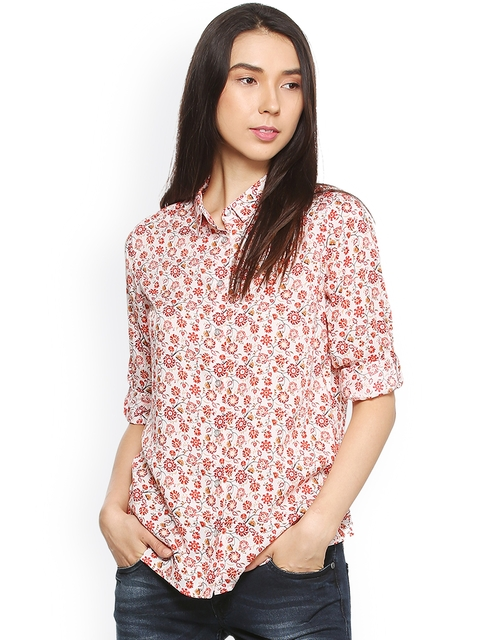 Allen Solly Woman Red Regular Fit Printed Casual Shirt