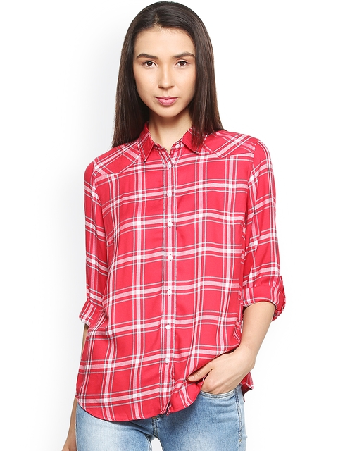 Allen Solly Woman Red & White Regular Fit Checked Casual Shirt