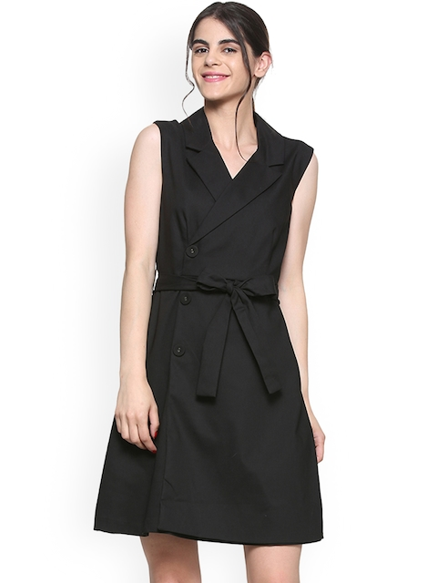 Allen Solly Woman Black Solid Wrap Dress