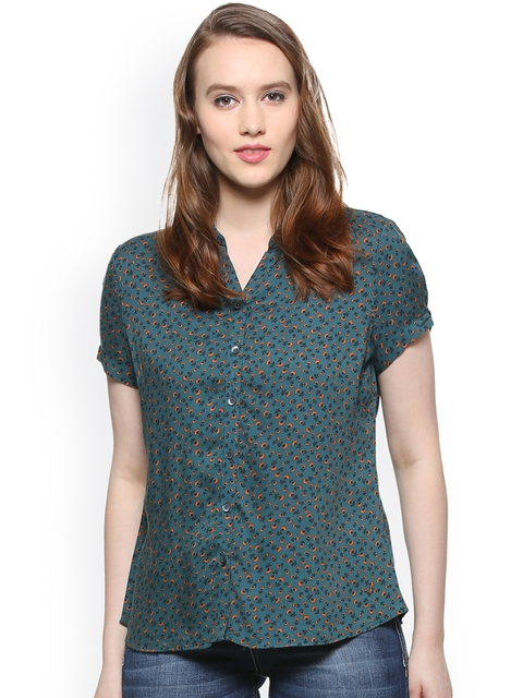 Allen Solly Woman Green Regular Fit Printed Casual Shirt
