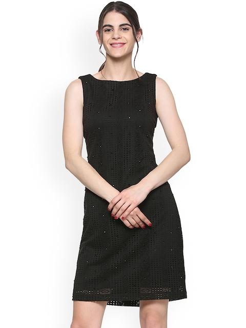 Allen Solly Woman Black Embellished Sheath Dress