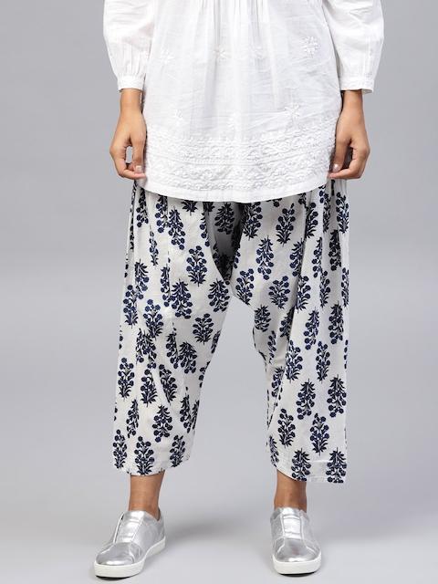 Nayo Women White & Navy Blue Printed Salwar