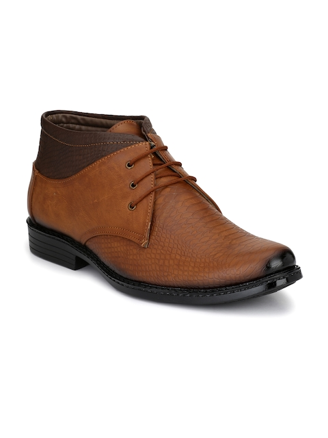 John Karsun Men Tan Brown Textured Semiformal Boots