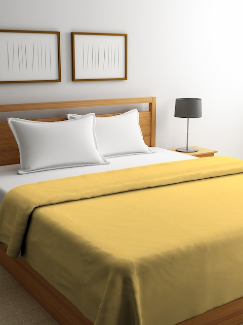 Portico New York Gold-Toned Solid Reversible Double Bed Duvet Cover