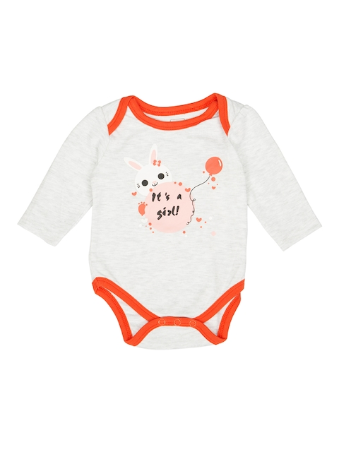 MeeMee Girls Grey Melange Printed Bodysuit