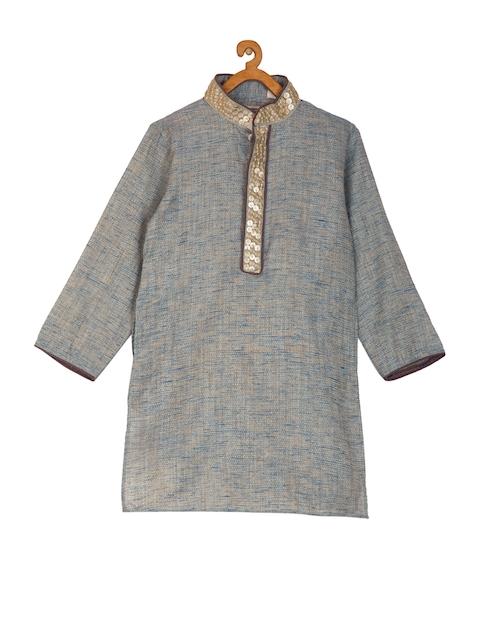 KISAH Boys Grey & Blue Solid Silk Straight Kurta