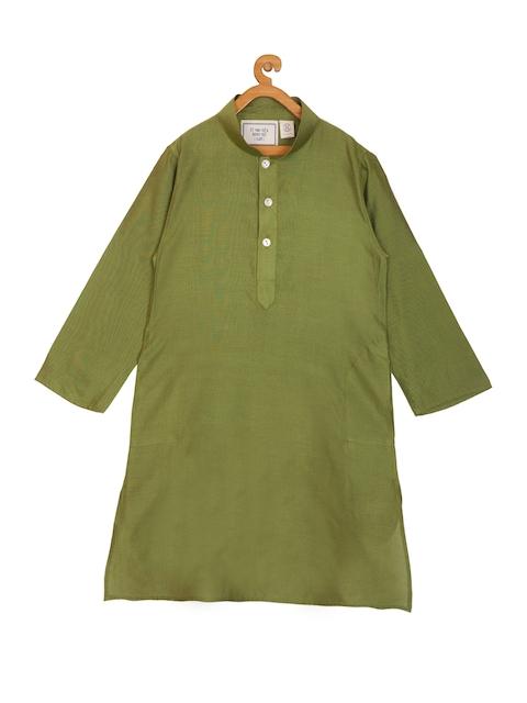 KISAH Boys Olive Green Solid Silk A-Line Kurta