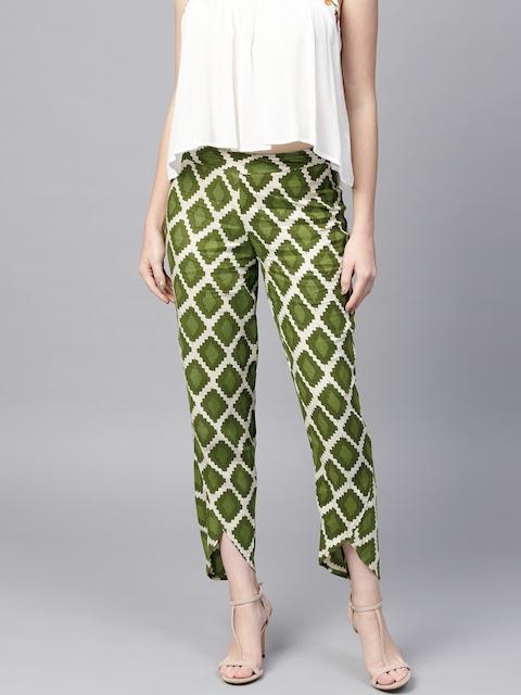 SASSAFRAS Women Green & Off-White Tapered Fit Printed Dhoti Pants