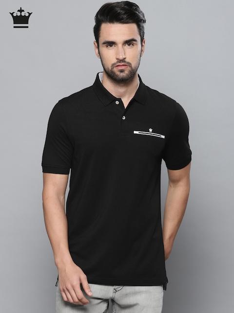 Louis Philippe Men Black Solid Polo Collar T-shirt