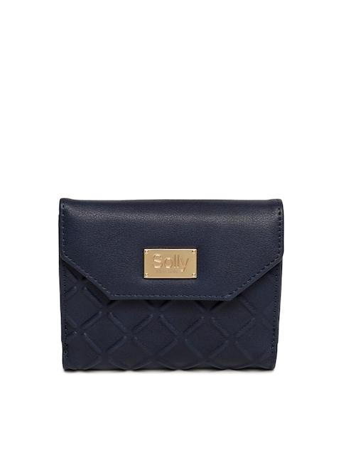 Allen Solly Women Navy Blue Textured Three Fold Wallet