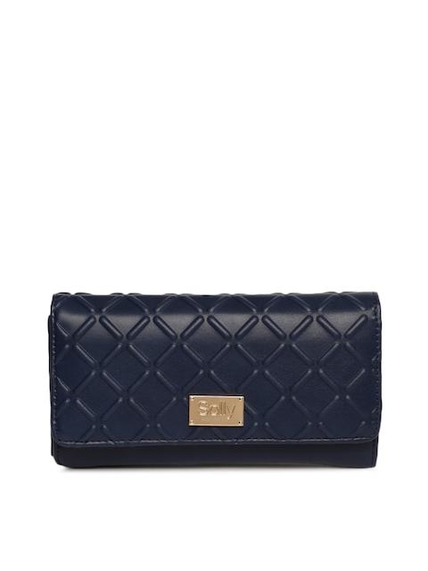Allen Solly Women Navy Blue Textured Two Fold Wallet