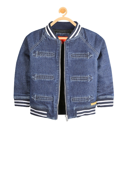 Cherry Crumble Boys Blue Solid Tailored Jacket