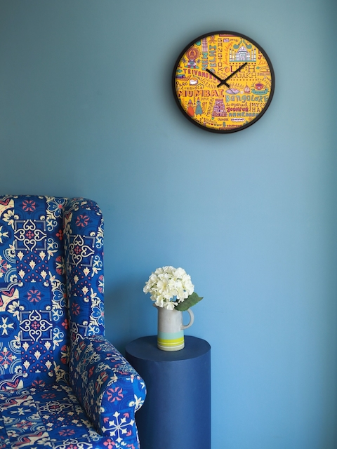 Chumbak Yellow Round Printed 34.5 cm Analogue Wall Clock